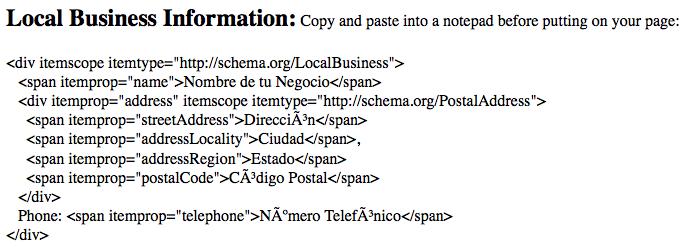 Código HTML del Marcado Schema