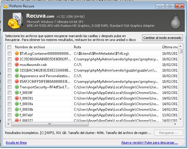 Recuperar archivos