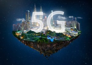 Fantasy island floating in the air with 5G network wireless systems and internet of things , Smart city and communication network concept .